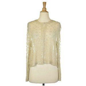 Talbots Women Sweaters Shrugs MED Tan Silk